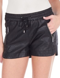 William Rast Faux Leather Gym Shorts Black