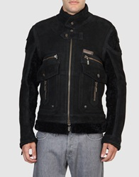 Just Cavalli Leather Outerwear Black
