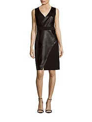 Laundry By Shelli Segal Faux Leather Sleeveless Sheath Dress Black
