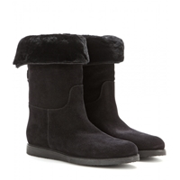 Salvatore Ferragamo My Ease Sheepskin Lined Suede Boots Black