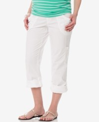 Motherhood Maternity Cuffed Cargo Pants White