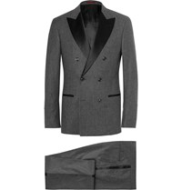 Brunello Cucinelli Grey Double Breasted Wool Silk And Cashmere Blend Tuxedo Gray