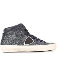 Philippe Model Glitter Effect Hi Top Sneakers Blue