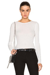 T By Alexander Wang Double Rib Long Sleeve Crop Tee In White