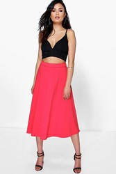 Boohoo Plain Full Circle Midi Skirt Lipstick