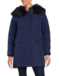Calvin Klein Long Sleeve Faux Fur Trim Hooded Parka Jacket Navy