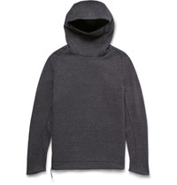 Nike Funnel Neck Cotton Blend Tech Fleece Hoodie Charcoal