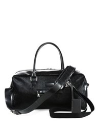 Balmain Leather And Pony Hair Duffle Bag Black