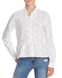 Birds Of Paradis Eyelet Peplum Shirt White