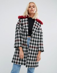 Helene Berman Fur Collar Coat Tweed Check With Red Fur 2 Green Red Check White