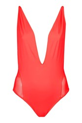 Topshop Plunge Mesh Swimsuit Coral