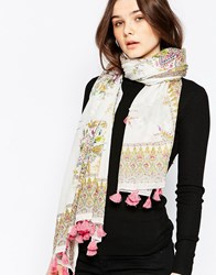 Yumi Lightweight Scarf With Tassels Multi Colour