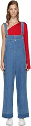 Sjyp Blue Denim Wide Leg Overalls