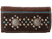 American West Hayloft Tri Fold Wallet Chestnut Brown Chocolate Brown Sky Blue Wallet Handbags Black