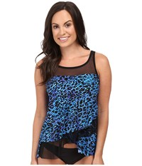 Miraclesuit Purr Fection Mirage Layered Tankini Top Blue Women's Swimwear
