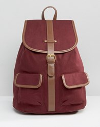 Monki Cotton Canvas Backpack Wine Red