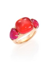 Pomellato Rouge Passion Tangerine Three Stone Ring Rose Gold