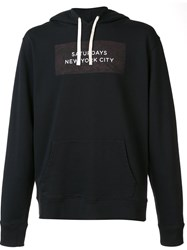 Saturdays Surf Nyc Logo Print Pullover Hoodie Black