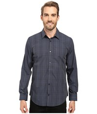 Calvin Klein Long Sleeve Infinite Cool Large Window Plaid Shirt Black Men's Long Sleeve Button Up