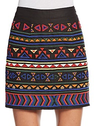 Sam Edelman Embellished And Embroidered Mini Skirt Black Multi