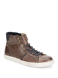 Frye Bedford Leather High Top Sneakers Charcoal