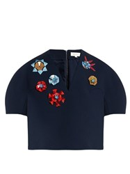 Delpozo Embellished V Neck Cotton Blend Crepe Top Navy Multi