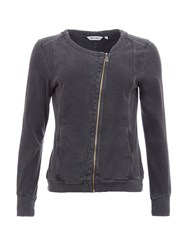 Garcia Zip Up Cotton Cardigan Black