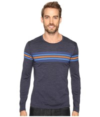 Icebreaker Oasis Long Sleeve Crewe Coronet Stripe Fathom Heather Pelorus Men's Clothing Navy