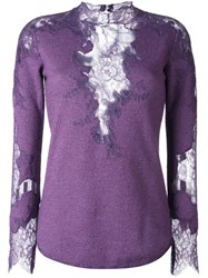 Ermanno Scervino Lace Detail Knitted Top Pink Purple