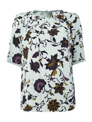 Noa Noa Blouse With Short Sleeve And Retro Flower Pattern Turquoise