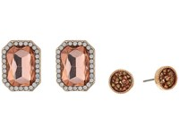 Guess Rectangular Stone And Stone Stud Duo Ear Set Earrings Gold Light Peach Smoke Quartz Earring
