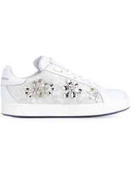 Dolce And Gabbana Embellished Lace Sneakers White