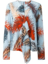 Emilio Pucci Feather Print Blouse Blue
