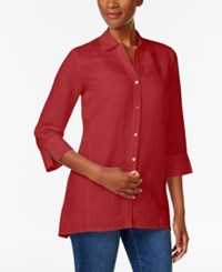 Jm Collection Linen Blend Shirt Only At Macy's New Red Amore