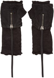 Isabel Benenato Black Leather And Mesh Fingerless Gloves
