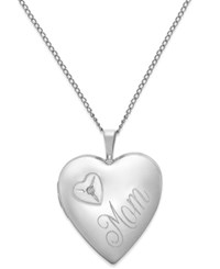 Macy's Diamond Accent Mom Heart Locket Necklace In Sterling Silver