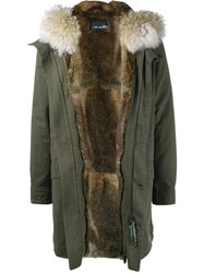 Yves Salomon Homme Fur Trimmed Parka Green