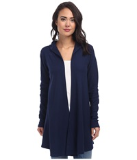 Allen Allen Hooded Open Cardigan Lapis Women's Sweater Navy