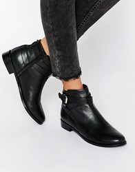 Faith Brogan Buckle Leather Ankle Boots Black Leather