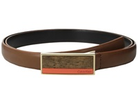 Calvin Klein 20Mm Feather Edge Semi Shine Leather Plaque Buckle With Inlay And Powder Coated Logo Belt Luggage Women's Belts Brown