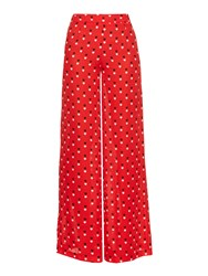 Christopher Kane Love Heart Print Wide Leg Silk Trouser