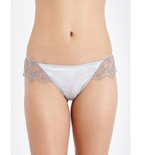 Id Sarrieri Embroidered Lace And Satin Briefs Silver
