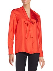 Rag And Bone Florence Silk Tie Neck Blouse Fiery Red