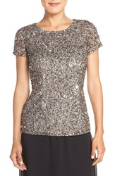 Adrianna Papell Women's Short Sleeve Sequin Mesh Top Lead