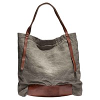 Rissetto Washed Linen Tote Bag Charcoal