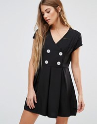 Wal G Skater Dress With Buttons Black