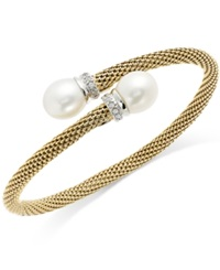 Macy's Cultured Freshwater Pearl And Cubic Zirconia Mesh Cuff Bracelet In 14K Gold Over Sterling Silver 10Mm