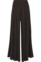 The Row Anissa Washed Silk Charmeuse Wide Leg Pants Black