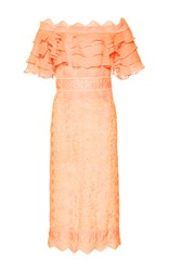 Costarellos Guipure Lace Off The Shoulder Ruffled Dress Pink