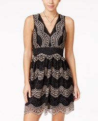 Trixxi Juniors' Lace V Back A Line Dress Black